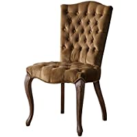 Pemberly Row Vintage Velvet Tufted Dining Chair in Brown