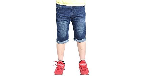 d1087d918f WIYOSHY Boys Dark Blue Denim Elastic Waist Pull On Knee Length Jean ...