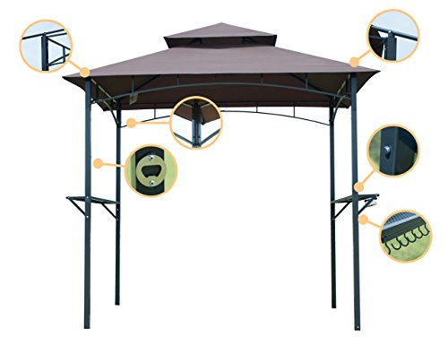 GOJOOASIS Barbecue Grill Gazebo Outdoor 2-Tier BBQ Canopy Tent Coffee Shelter 8-Feet