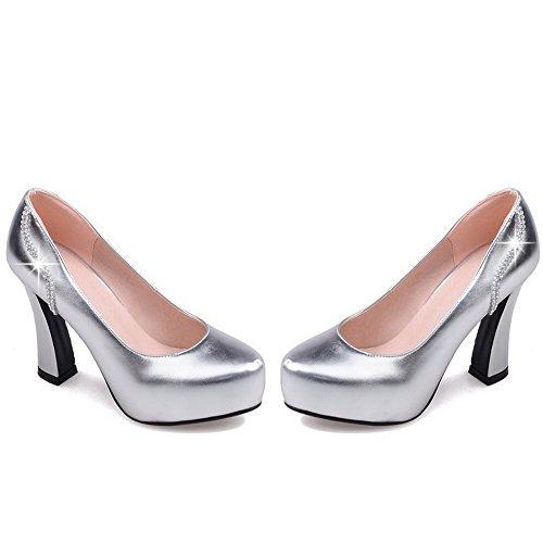 AllhqFashion Damen Spitz Zehe Ziehen auf Blend-Materialien Hoher Absatz Pumps Schuhe, Silber, 33