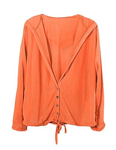 ドレスヌー レディース ファッション 無地 長袖 フード付き 冷房対策 日焼け止め UVカット ボタンダウン 薄手 パーカー カーディガン 全14色