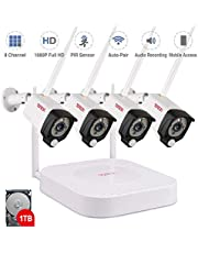 Tonton Wireless Security Camera System, 8CH NVR with 1TB HDD and 4PCS 1080P Waterproof Outdoor Cameras