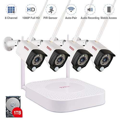 Tonton 1080P Full HD Wireless Security Camera System, 8CH NVR...