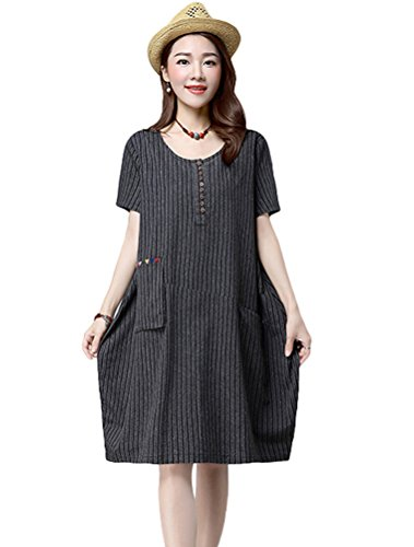 Mordenmiss Womens Summer Stripes Pockets product image