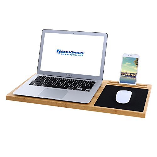 SONGMICS Bamboo Lap Desk Tray Board Multi Tasking Laptop Tablet Ipad Cellphone Stand Holder with Built-in Mouse Pad ULLD560 by SONGMICS