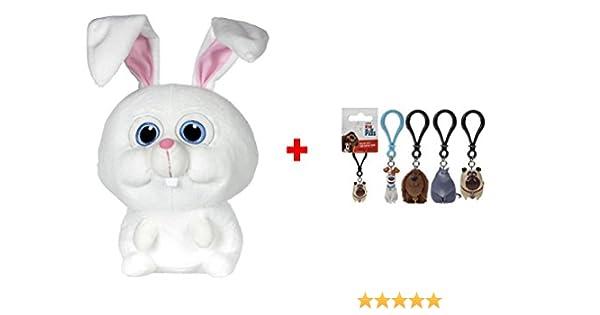 MASCOTAS Llavero ALEATORIO de personajes de la pel/ícula. Peluche Snowball conejo blanco 9,05//23cm