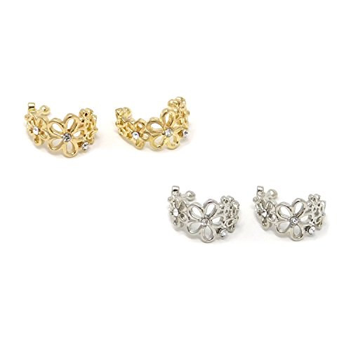 HONBAY 4PCS Flower Hollow Ear Cuff Wrap Clip Non-Piercing Alloy Fashionable Fake Earrings Women Girls,Golden Silver