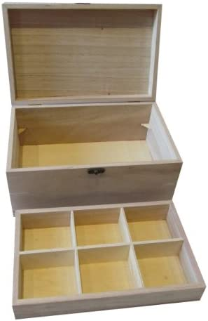 Plain Wooden Box for Keepsakes Memory Gift Jewellery or Sewing Storage with Removable Tray Craft Decoupage Blank WBM0093