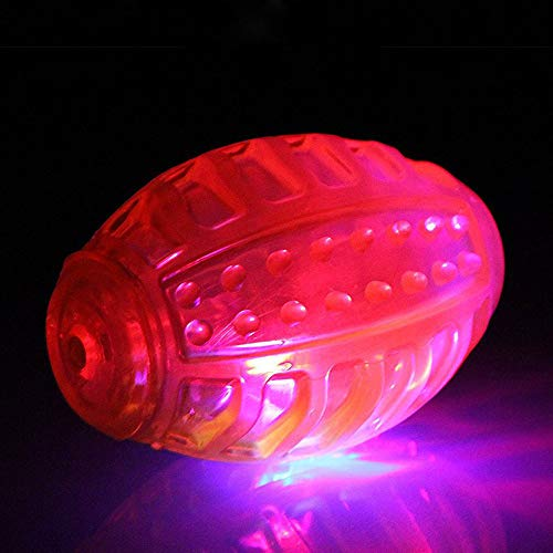 Trushow 4 inch LED Dog Fetch Ball Toy Red LED Light Up Fetch Ball Dog Toy for Night Play & Fetch Games