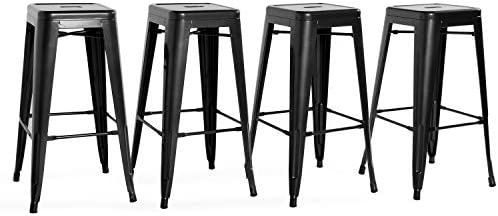 CAP Living Set of 4, Stackable 30 inches Sturdy Square Seat Metal Bar Stools, Colors Available in Glossy Black or Dark Gunmatal Glossy Black