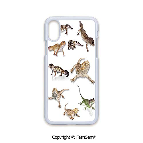 (Phone Case Compatible with iPhone X Black Edge Multi Colored Staring Leopard Gecko Family Image Primitive Reptiles Wildlife Art Print Home 2D Print Hard Plastic Phone Case)