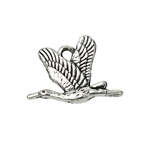 - Monrocco 60pcs Tibetan Antique Silver Wild Goose Bird Charms Pendant for Jewelry Making Earring Bracelet 18x16mm