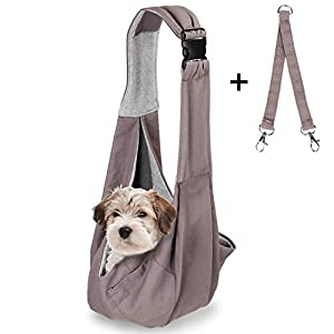 OWNPETS Pet Sling Carrier, Pet Sling Carrier Bag Safe, Comfortable, Reversible,Adustable, Fit Small & Medium Pets, Perfect for Outdoor Activities 67