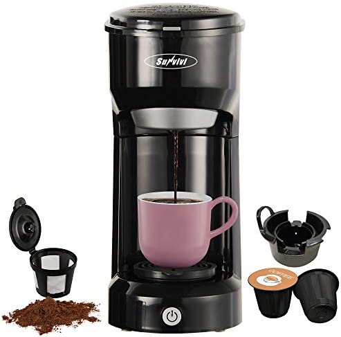 Coffee Maker-Single Serve Coffee Maker Brewer for Pod and Ground Coffee, Coffeemaker With Permanent Filter, 6oz to 14oz Mug, One-touch Control Button(Black)
