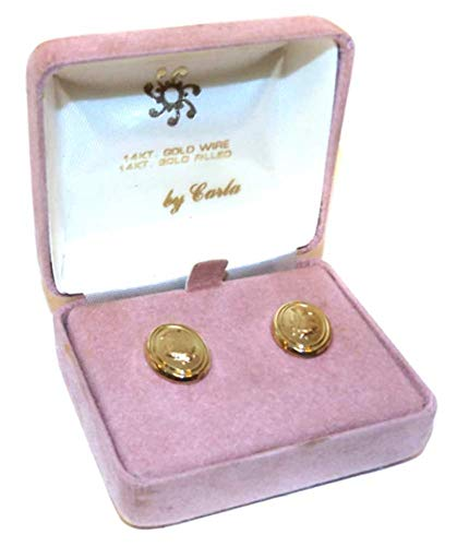 Vintage Carla Oval 14K Gold Filled Earrings with Embossed Girl Cameo & Original Box ()