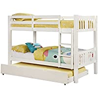 Furniture of America 2 Piece Davis Transitional Bunk Bed with Trundle Set, Twin/Twin, White