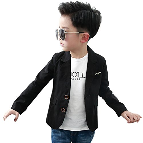 SKY-ST Boys' Fashion Blazers Casual Jackets,Black,160(11-12T)