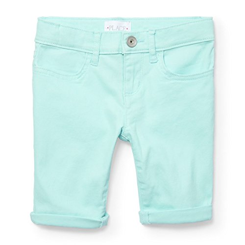 The Children's Place Big Girls' Colored Denim Skimmer Shorts, Sea Crystal 3994, 16