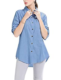 Women's Button Down Long Roll up Sleeves Shirts Jean Denim Loose Blouse Tops