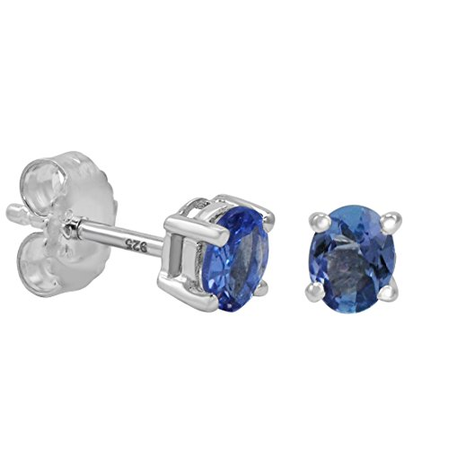 Tanzanite Stud Earrings set in Sterling Silver (Real Genuine Tanzanite)