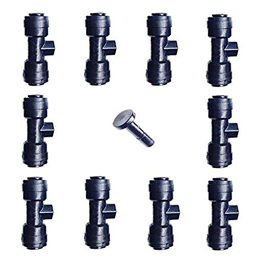 GAZI 1/4 Slip-Lok Misting Nozzle Tees W/Plug for Patio Cooling System 10/24 UNC