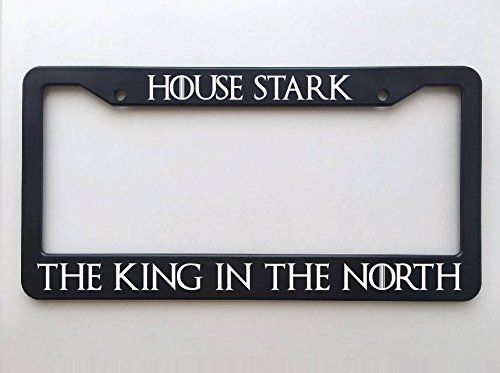 Yilooom Game of Thrones License Plate Frame - House Stark - The North Remembers - The King in The North Auto Car Novelty Accessories License Plate Art (House Stark License Plate)
