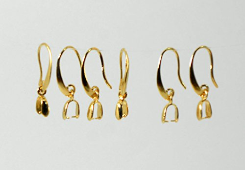 Pure 14k Gold Plated 1 Micron Thickness Earrings findings Ear Wire Pinch Bail 28 mm Wholesale Moon Style for fine Jewelry Making Designers (6)