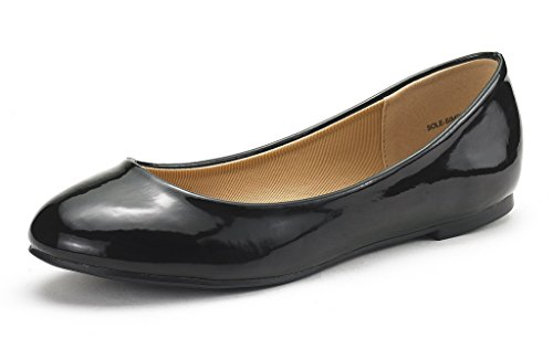 DREAM PAIRS Women's Sole-Simple Black Pat Ballerina Walking Flats Shoes - 8 M US (Best Formal Shoes For Flat Feet)