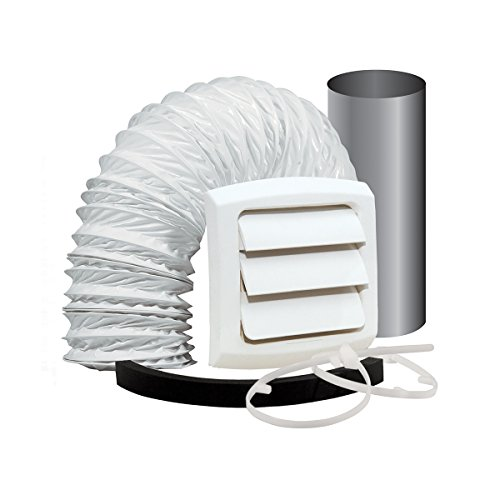 Dundas Jafine EXWTZW Bathroom Fan Vent Kit with, Wall Style 4 inch x 5' Vinyl Duct - Kit Wall Vent