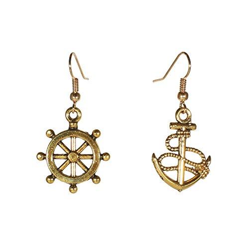 Fashion Goldtone Niello Anchor Helm Dangle Earrings Nautical Marine Maritime Jewelry (Anchor (Bronze Anchor Set)