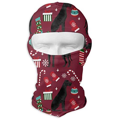 (Windproof Balaclava Hood, Great Dane Black Christmas Stockings Candy Canes Dog Patio for Hunting Skiing)