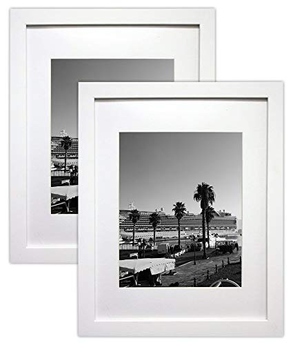 Golden State Art Set of 2, 11x14 White Picture Frame - Matted for 8x10 Photos - Wood Framing - Wall Mounting - Landscape/Portrait - Great for Family/Group ()