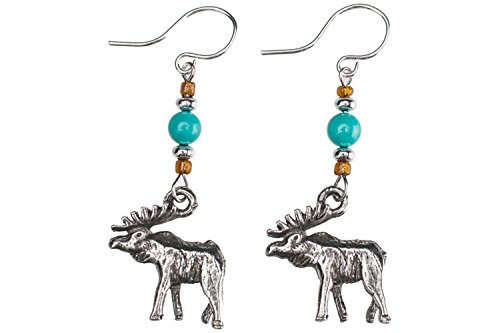 Earrings - Tiny Moose Charms with Gemstone Accent Beads