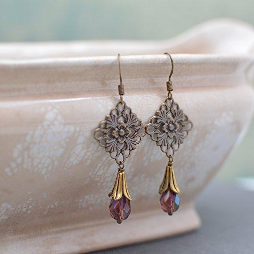 Nouveau Brass Chandelier - Antiques Gold & Brass Art Nouveau Chandelier Earrings with Amethyst Crystals
