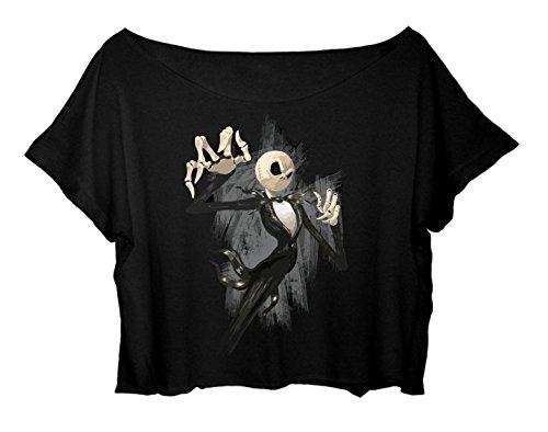 ASA Women's Crop Top Halloween T-Shirt Jack Skellington Happy Halloween Shirt (Happy Halloween Jack Skellington)