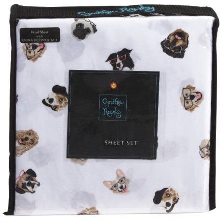Cynthia Rowley Queen Sheet Set Dogs with Glasses 4 pc Brown