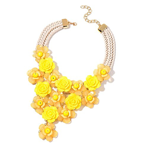 Shop LC Yellow Chroma, Yellow Glass Goldtone Floral Statement Fashion Pendant Necklace 18-20