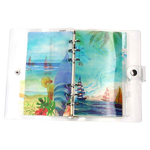 A5 6-Ring Loose Leaf Binder Journal from Md trade, w/ 80 Insert Pages(Dot Grid/Square Grid/Ruled/Blank) + 6 Index Divider Tabs + 1 Clear Page Maker + 1 Ziplock Pouch Included, Refillable