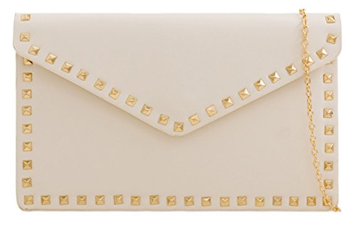 HandBags Clutch Girly Studded Bag Beige Plain BSqOxwZ