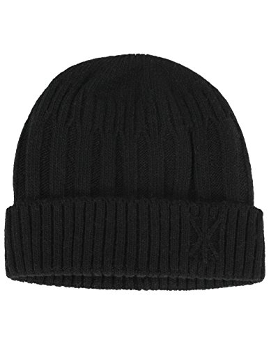 Dahlia Men's Wool Blend Knit Beanie, Stripe & Velour Fleece Lined, Black