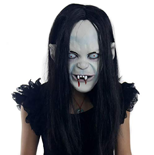 Halloween Mask Wig Curse Zhen Son Bloody Mask Scary Ghost Mask Zhen Son Horror Set Head Mask