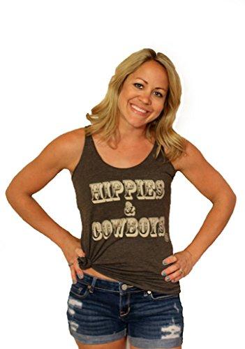 (Tough Little Lady Womens Shirt Hippies & Cowboys Country Graphic Macchiato Tank LG Brown)