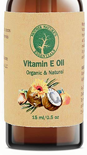- Organic Vitamin E Oil - D-Alpha Tocopherol - Natural Ingredients - Includes Jojoba Oil, Coconut Oil and Vitamin C - Stimulates Collagen Growth - Non-GMO - Helps with Scars & Stretch Marks (15ml/.5oz)