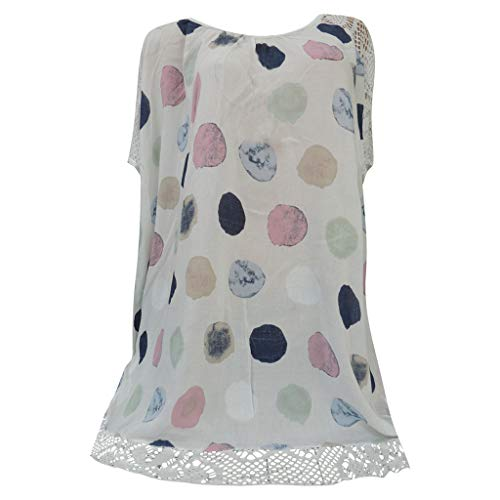 (PENGYGY Plus Size Women O-Neck Print Patchwork Hollow Out Print Floral Tops Blouse White)