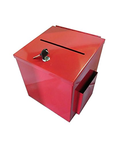 - Source One LLC Large Steel Donation Box, Suggestion Box with Side Pocket - RED