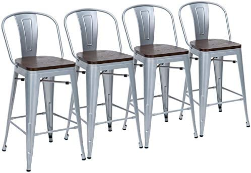 Yongchuang 24 Seat Height Metal Bar Chairs Set of 4 High Back Bar Stools with Wooden Seat Counter Height Chairs Silver