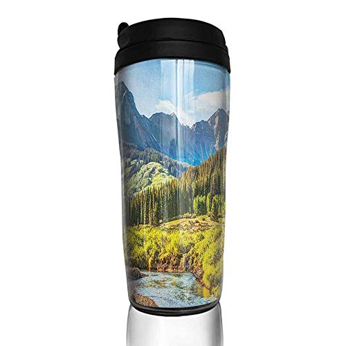 coffee cups warmer Landscape,Mountain Vista Thick Forest Trees Mountain Flowing River Grass Cloudy Sky Valley, Multicolor 12 oz,coffee cup organizer for cabinet