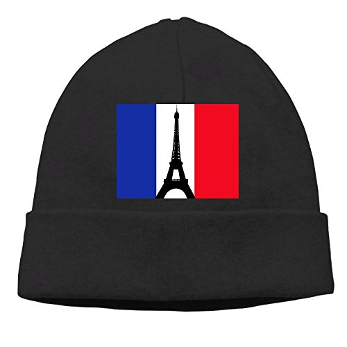 French Revolution Female Costume (Uanjuzn French Flag With The Eiffel Tower Men/Women Cool Fashion Hedging Hat Wool Beanies Cap Black)