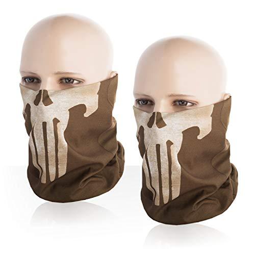 (M-Tac Punisher Skull Mask Bandana Headband Scarf Gaiter Tube (Coyote, Set of)
