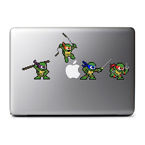 Retro 8-Bit Teenage Mutant Ninja Turtles (Combo Pack) Decals for MacBook, iPhone 5S, Samsung Galaxy S3 S4, Nexus, HTC One, Nokia Lumia, Blackberry